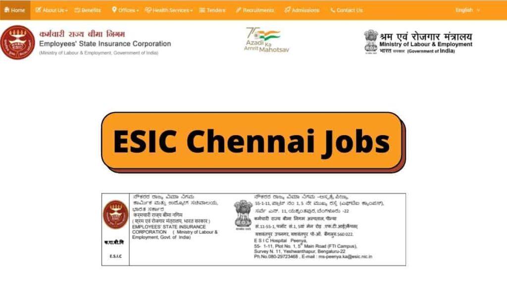 ESIC Hospital Recruitment Teaching Faculty Job In Chennai