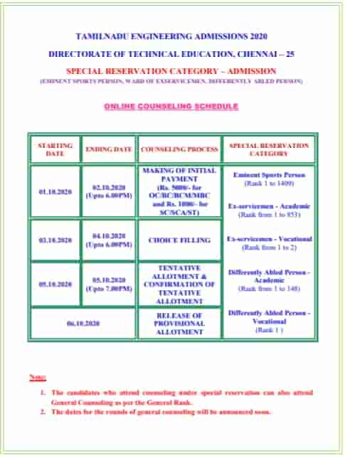 TNEA General Counselling Date 2021 Schedule chennai